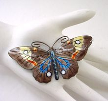 Marius Hammer VERY Large Butterfly Pin Brooch - 9 Colors! Enamel on Sterling