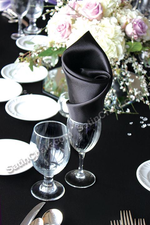 Roll Twist in wine glass or water goblet style - satin napkin ...