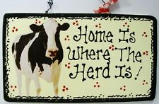 5x9 Almond Home Is Where The Herd Is Cow Kitchen Sign Country Crafts Farm Plaque Cow Kitchen Decor Cow Decor Cow Kitchen