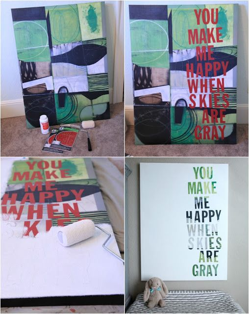 Breathe life into an old painting- DIY canvas art idea from Vintage Pretty