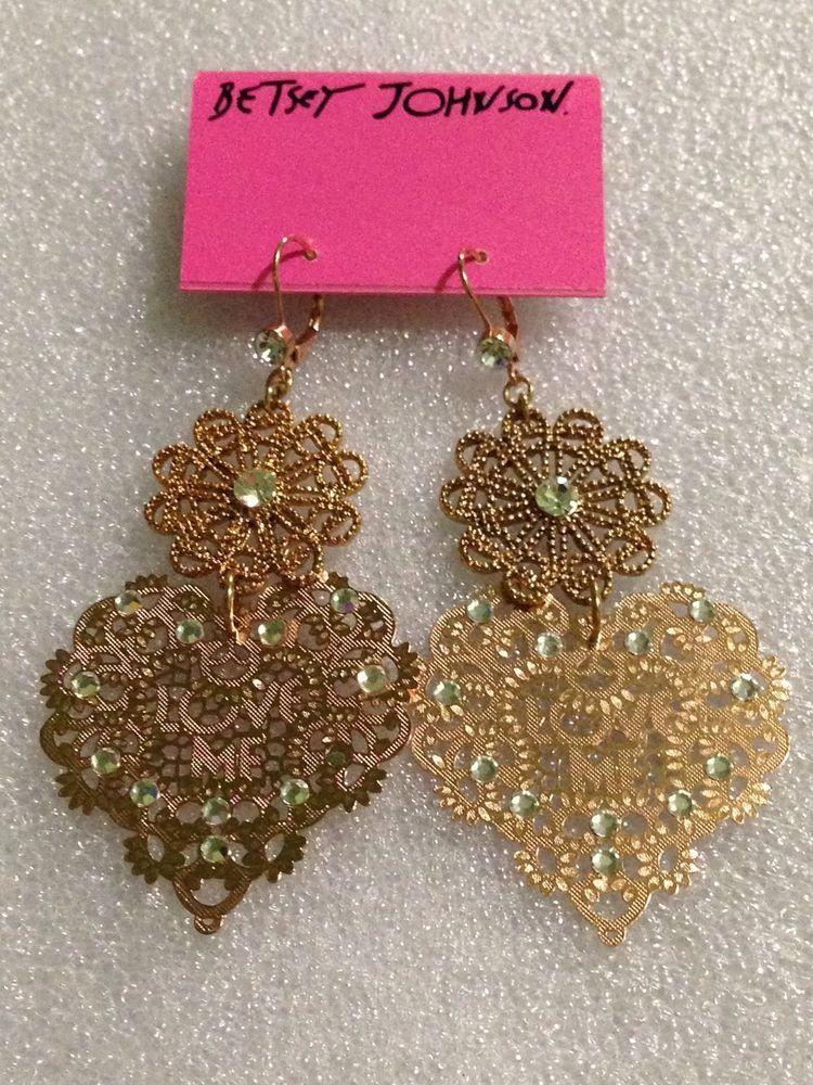 Betsey Johnson Earrings  Lace Heart Love Me Rhinestone Dangling Rare HTF #BetseyJohnson #DropDangle
