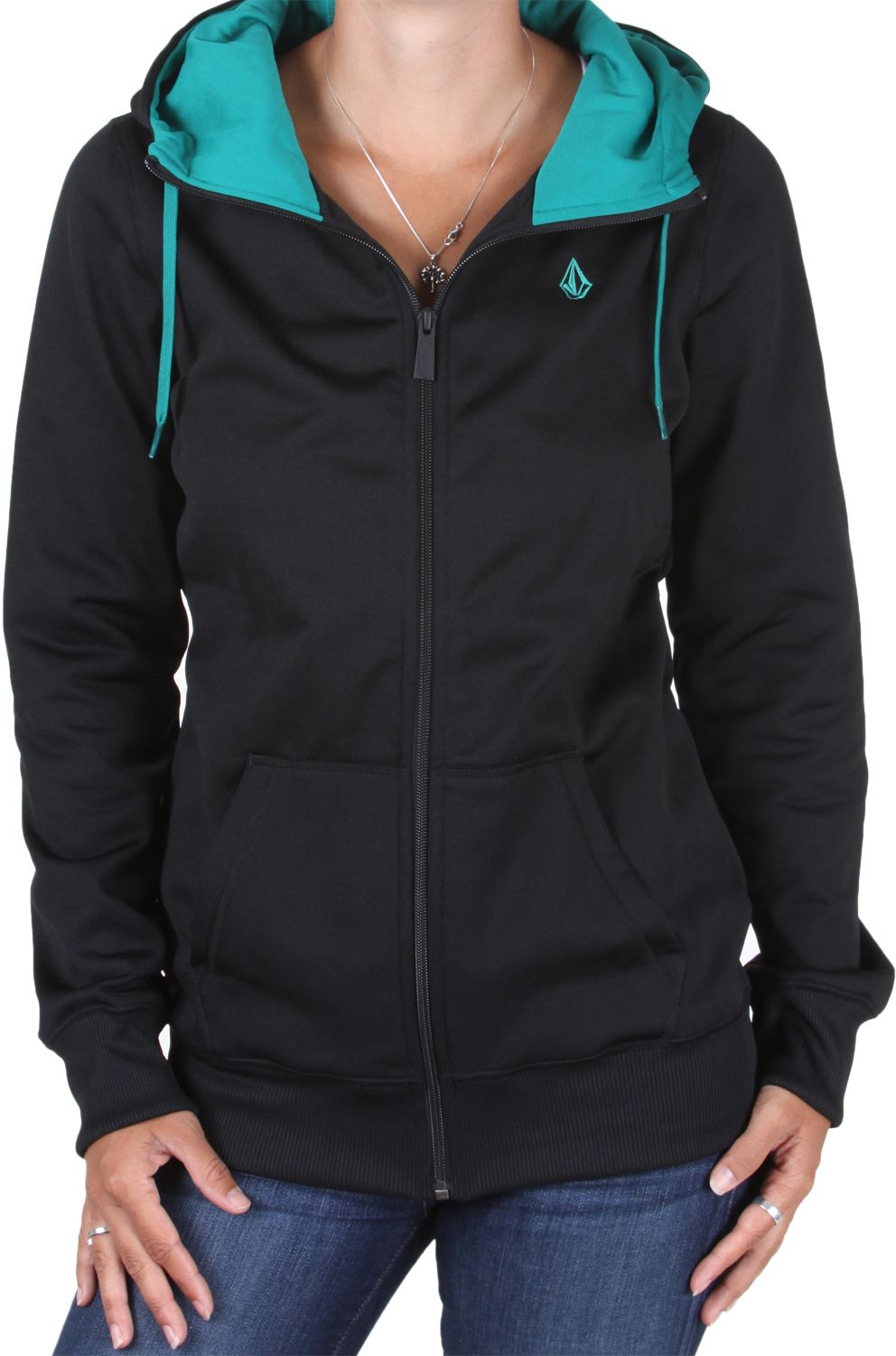 Volcom Porto Long Fleece Full Zip Hoodie - black - Women's ...