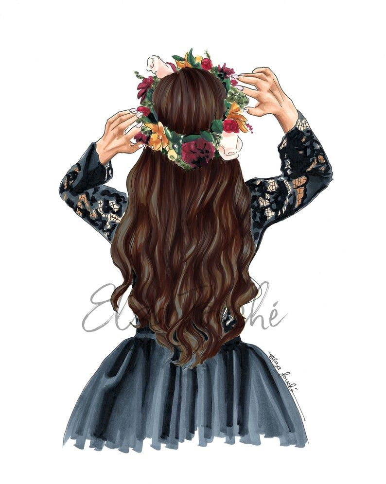 Photo of Flower Crown / Hair illustration – fashion illustration – Fashion art print – best friend gift – gifts for her – hair art