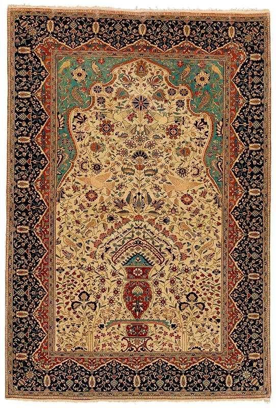 Motashem Kashan Prayer Rug circa 1900 Vance N. Jordan Sotheby's Lot 70