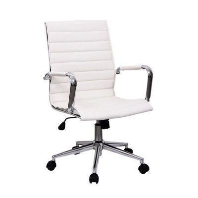 White Bonded Leather Office Chair