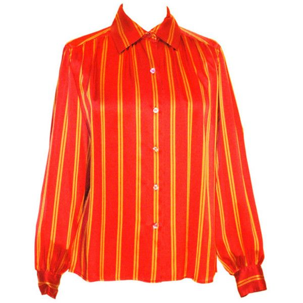 7c5dd69c91a38 Preowned Vintage Yves Saint Laurent Rive Gauche Silk Stripe Blouse ( 500) ❤  liked on Polyvore featuring tops