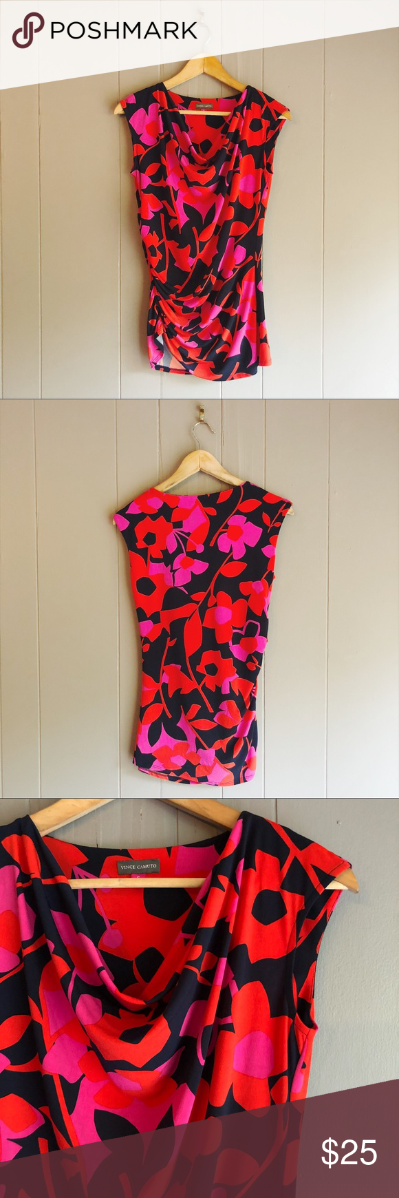 Vince Camuto Floral Print Cowl Neck Sleeveless Top Very fun, pretty, and colorful top in like new co...