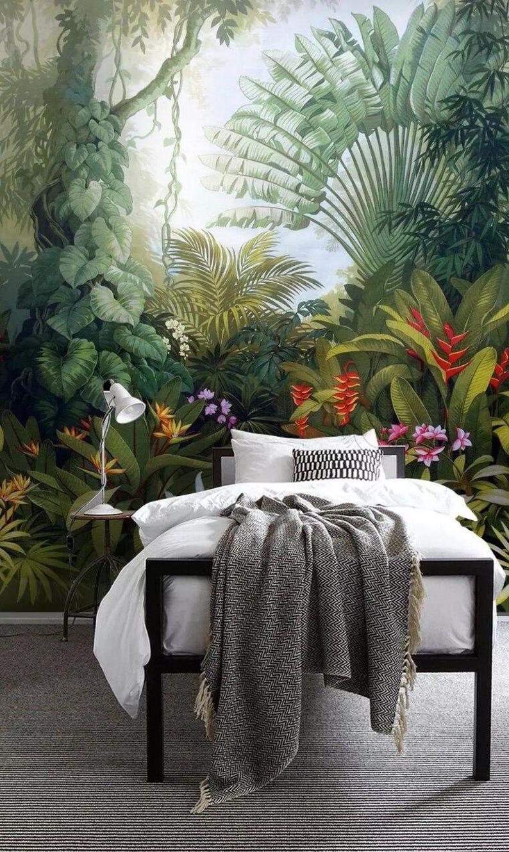 3d Tropical Rainforest Lush Vegetation Palm Leaves Etsy In 2021 Palm Leaf Wallpaper Leaf Wallpaper Mural Wallpaper