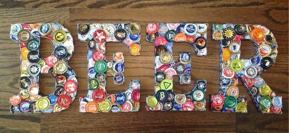Unique Craft Beer Bottle Cap Letters Sign BEER or BAR