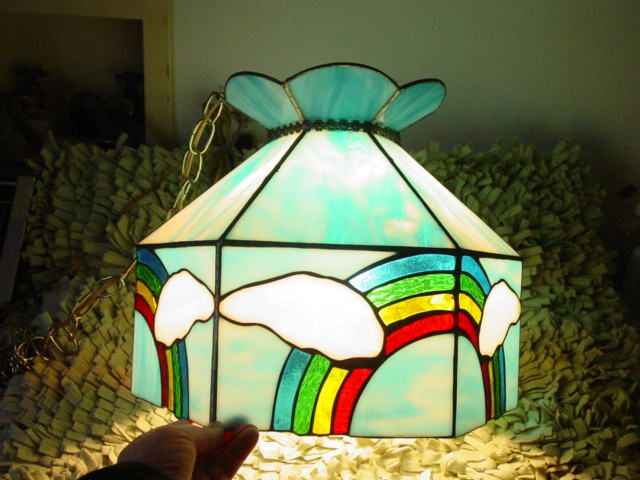 Rainbow & Sky w Clouds Leaded Stained Glass Hanging Light