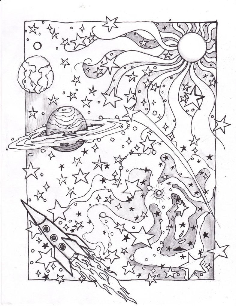 coloring space page - Space Coloring Pages