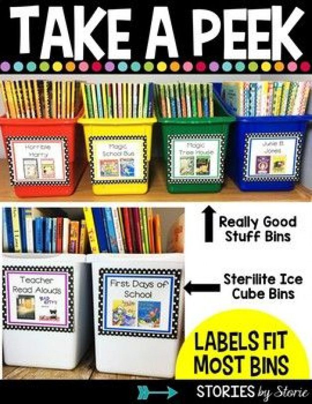 editable classroom library labels that fit the Really Good Stuff bins or Sterilite ice cube bins -
