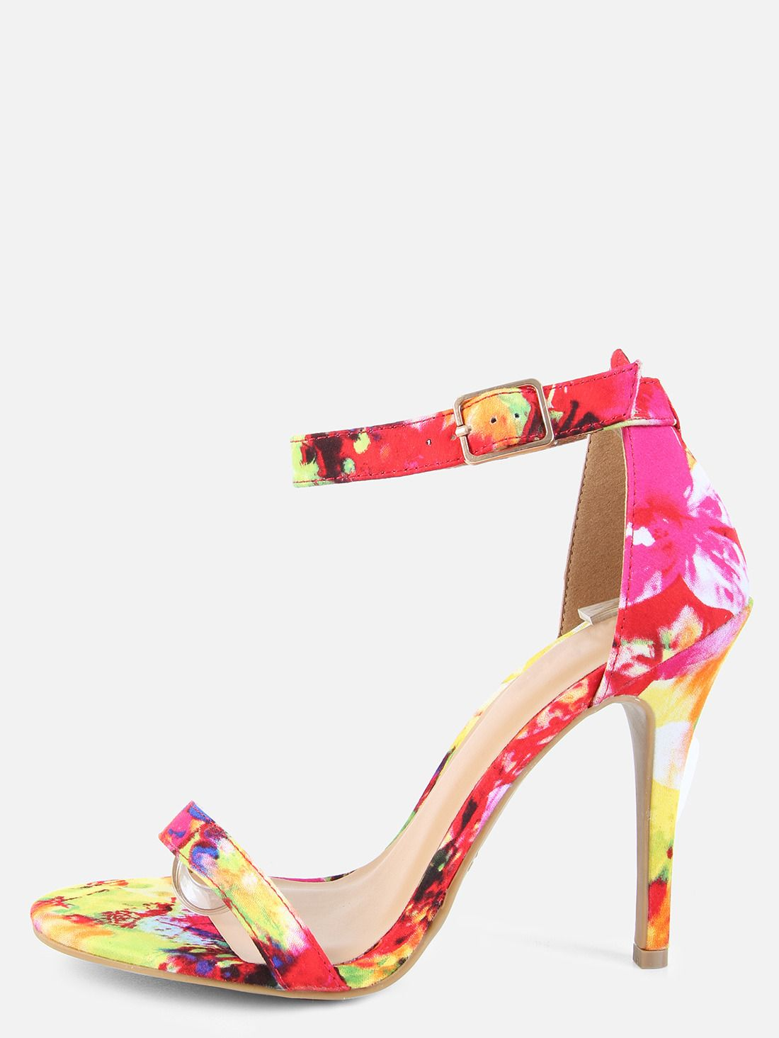 Single Sole Floral Heels RED MULTI 26.00