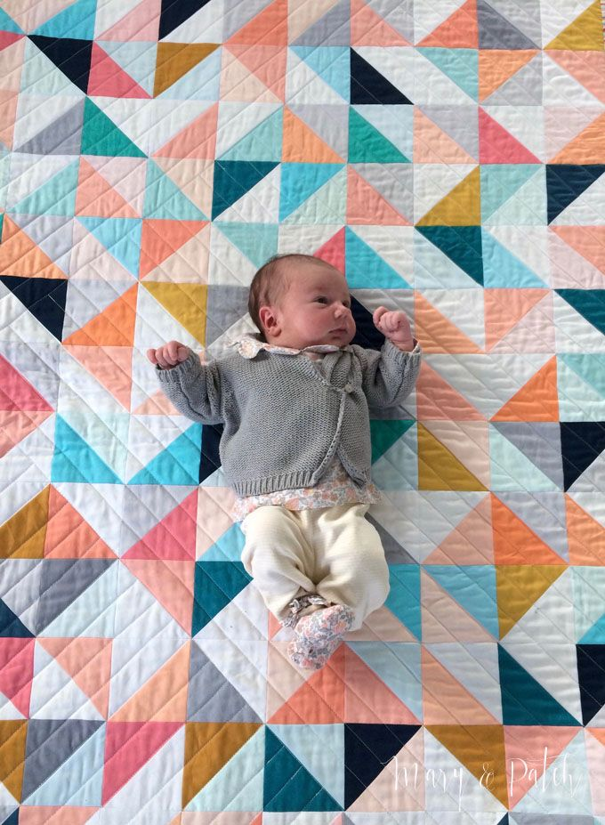 Maryandpatch Hst Modern Baby Quilt Solids Like The Quilting On