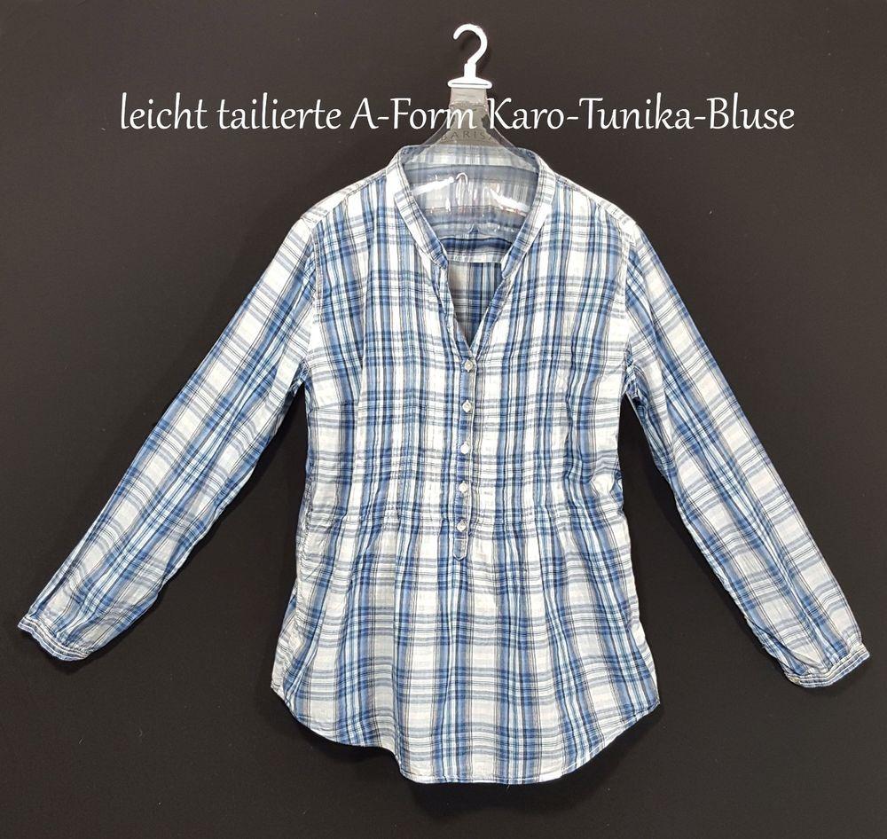 Bluse Langarm Oberteil Gr L 42 44 Tunika Longshirt Damen Büro kariert blau  K12   Kleidung 1564aef915