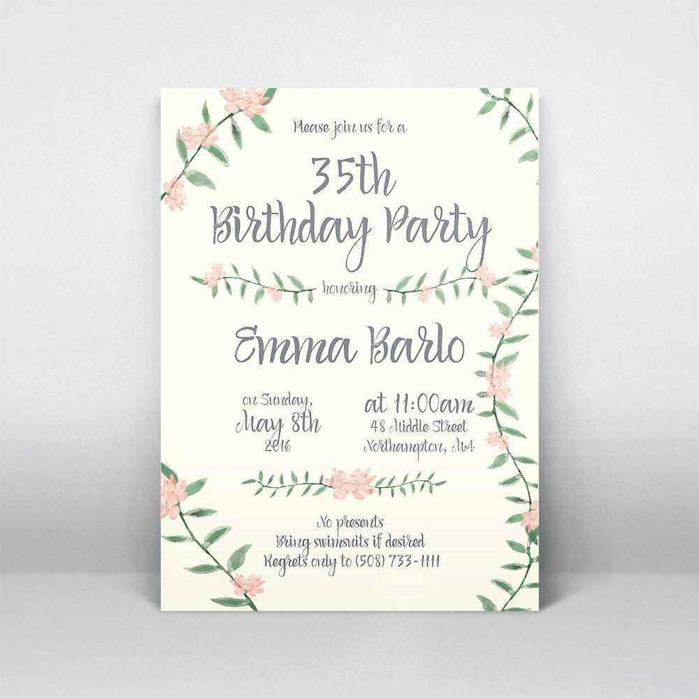 New to elanakleindesign on etsy printable flower birthday party new to elanakleindesign on etsy printable flower birthday party invitation watercolor floral vine invite template custom pink green gray grey nature stopboris Image collections