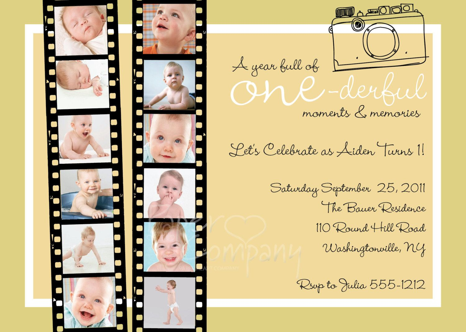 YEAR OF MEMORIES One Year In A Flash First Birthday Party Event Printable Invitation Old Boy Girl