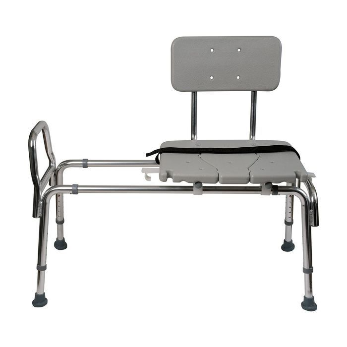 This Heavy-Duty Sliding Transfer Bench Shower Chair has a cut-out ...