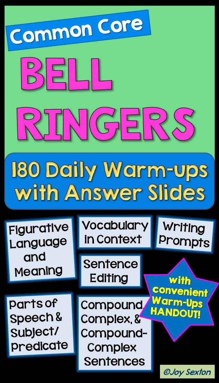Bell Ringers - 240 Daily Warm Ups with Answer Slides - Common Core ...