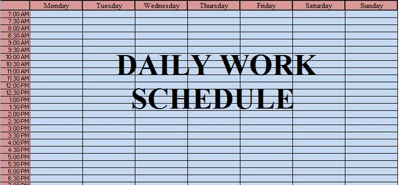 Download Free Daily Work Schedule Template xltx file prioritize - work schedule