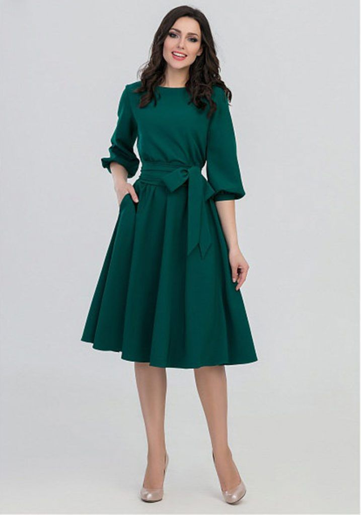 01f0cec7e18 Sylvia Lantern Sleeve A-Line Dress in 2019