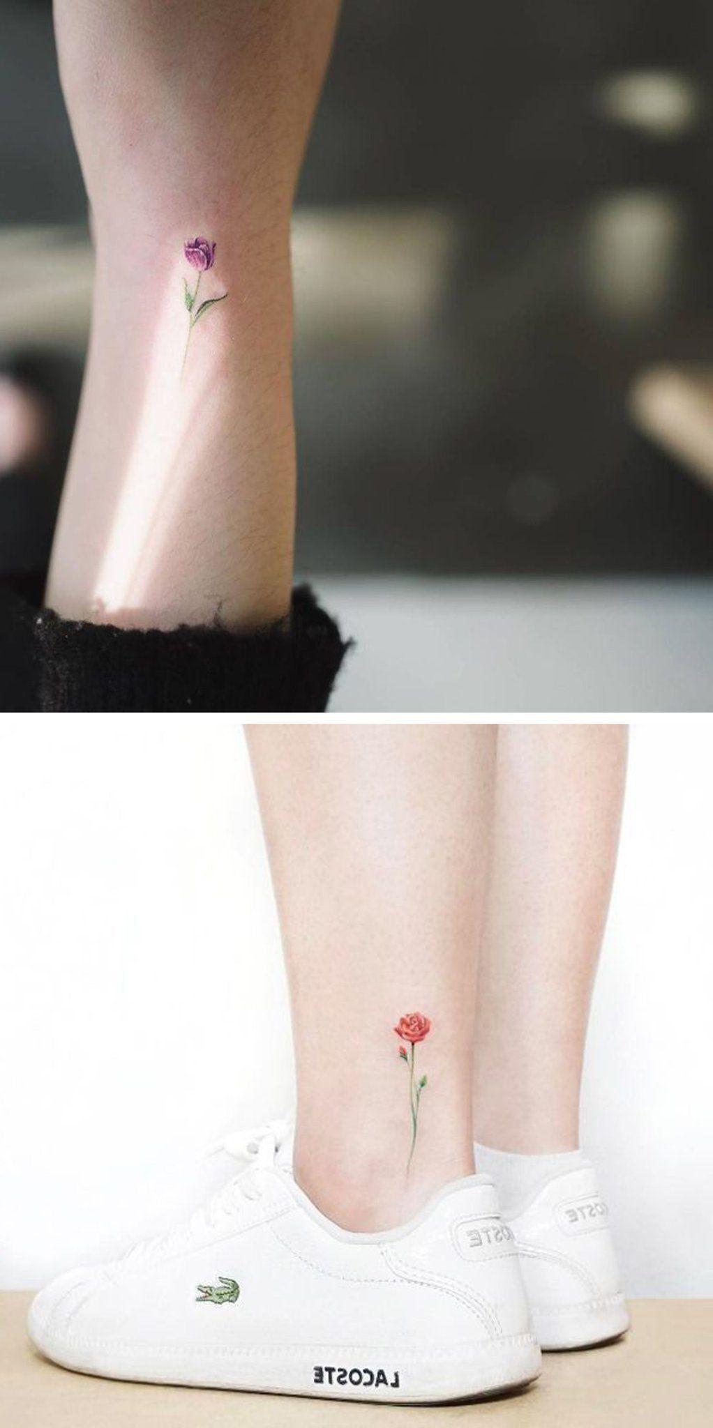 Tiny Watercolor Flower Ankle Tattoo Ideas Colorful Rose Wrist Tatt Mybodiart Com Flower Tattoo On Ankle Ankle Tattoo Small Flower Tattoos