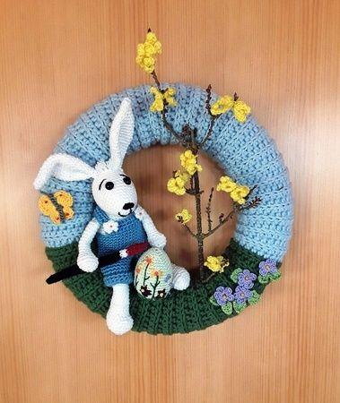 Photo of Crochet door wreath / with Easter bunny + flower meadow