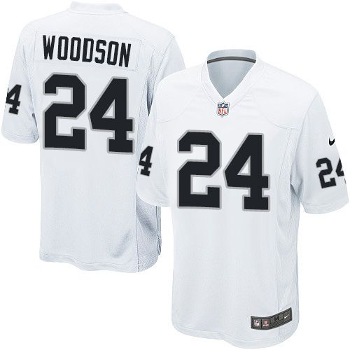 more photos 6aebc 8b951 Nike Game Charles Woodson White Youth Jersey - Oakland ...