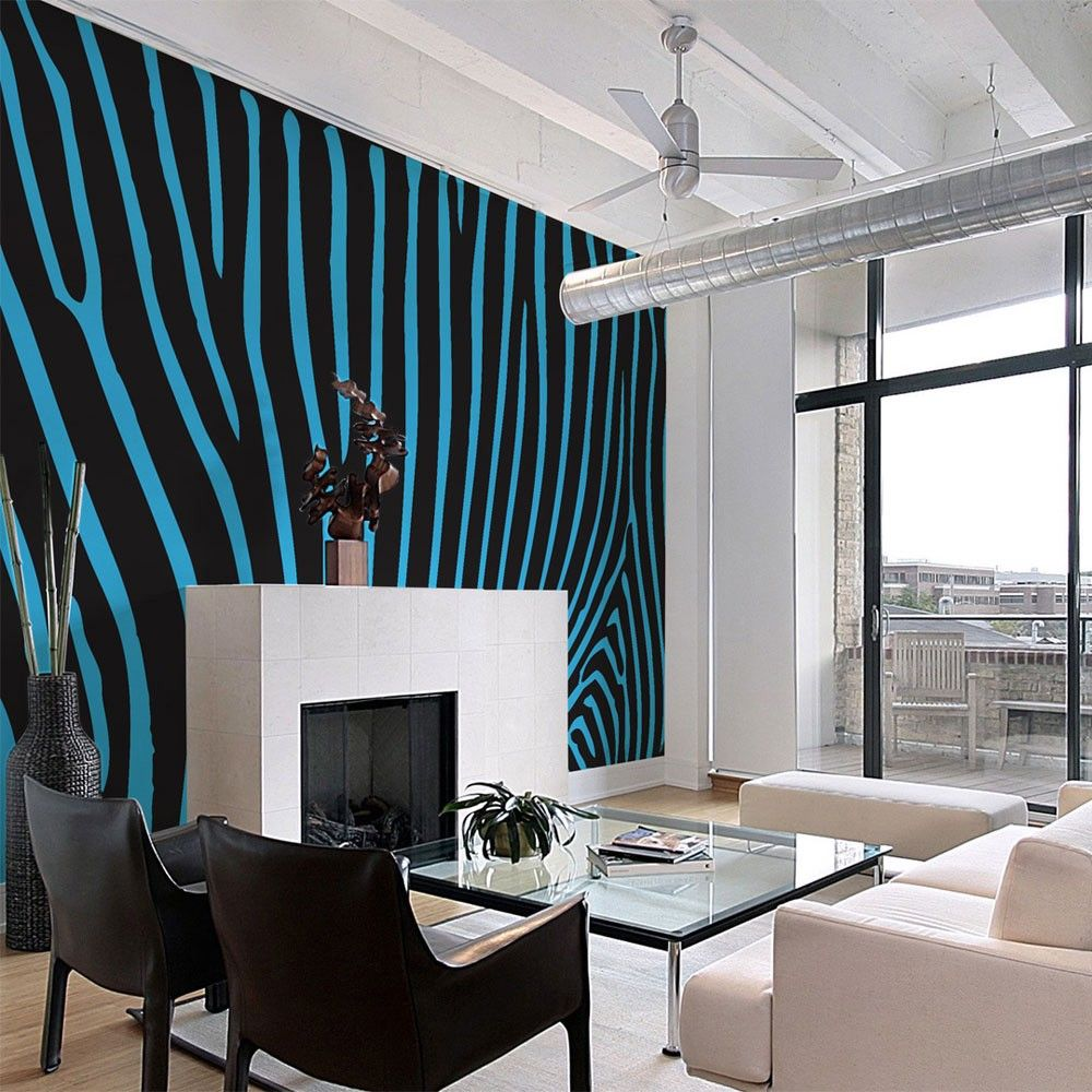 Wallpaper Zebra Pattern Turquoise 3d Wallpaper Home 3d