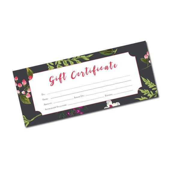 Black Winter Floral, Gift Certificate Template, Gift Certificate