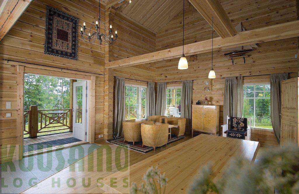 interior casa de madera kuusamo log houses modelo nokia