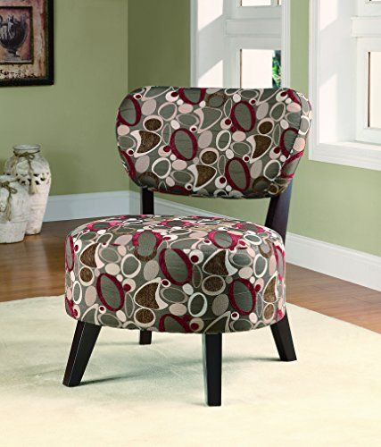 Coaster Accent Chair With Oblong Pattern In Dark Brown Wood Legs