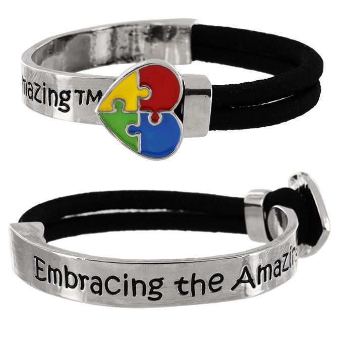If you have a loved one with autism, then emembracing the amazing/em is nothing new to you. Our bracelet features a puzzle-piece heart at the clasp of two joining parts, a cord and a silver-tone band, tightly joining them like the bond among the com