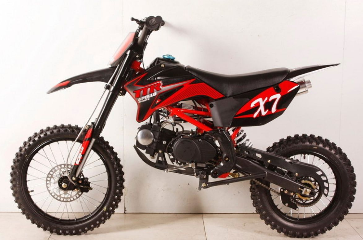 Apollo Dirt Bike 125cc Over Size With 17 Tire Twin Spar Frame Inverted Forks Apollo Dirt Bike Dirt Bike Pit Bike