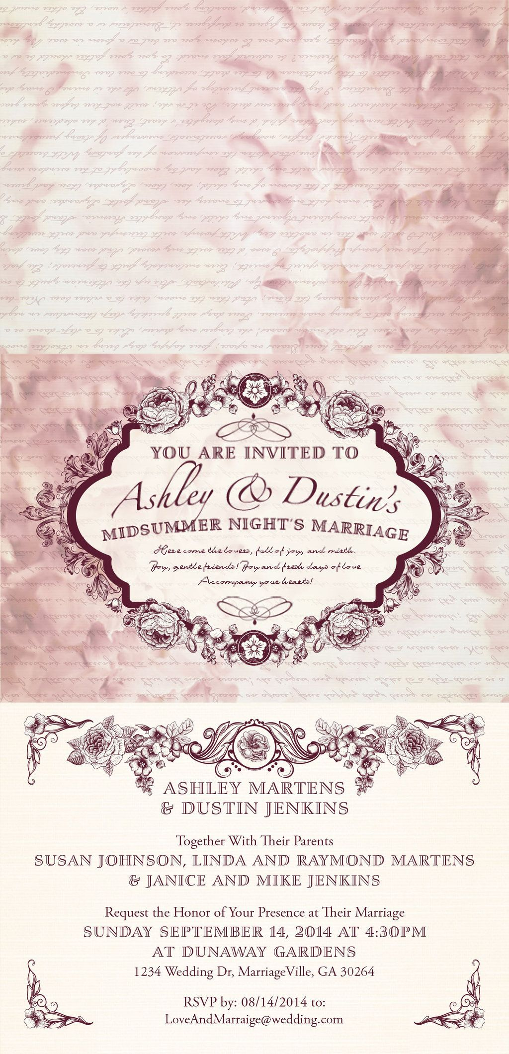 A Midsummer Night\'s Marriage - A wedding invitation that I designed ...