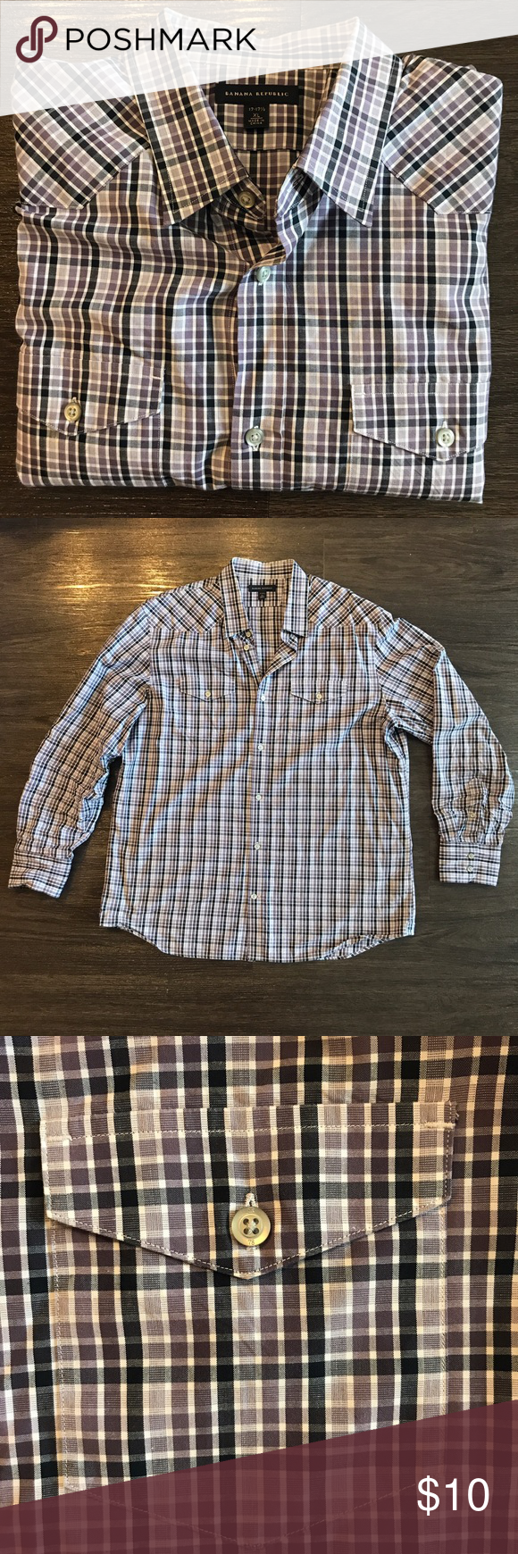Banana Republic double pocket button down Various purple toned cross stripped button down. Some yellowing on collar so price has been adjusted. Banana Republic Shirts Casual Button Down Shirts