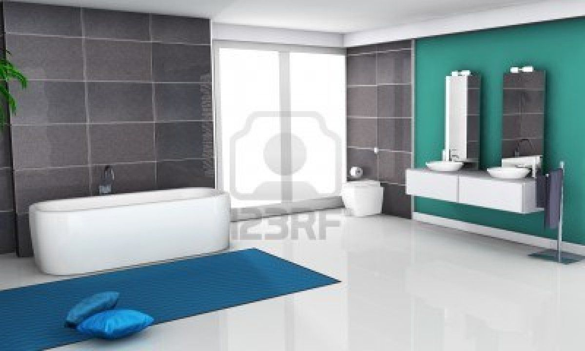 Home interior of a bathroom with modern and contemporary design and ...