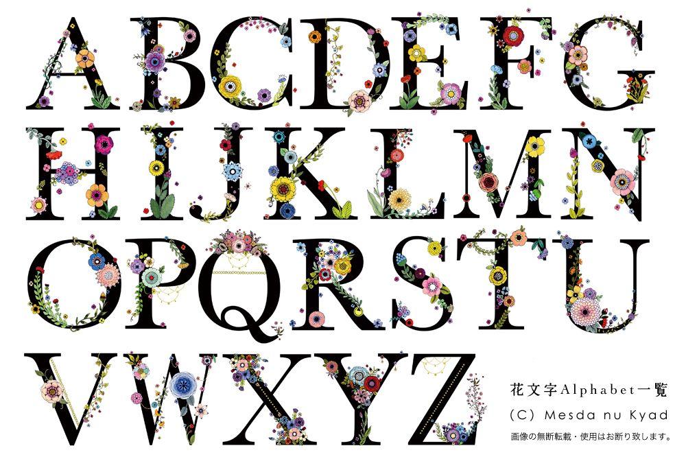 ポストカード イニシャル 花文字 4 モノグラムフォント クリエイティブなレタリング 花文字