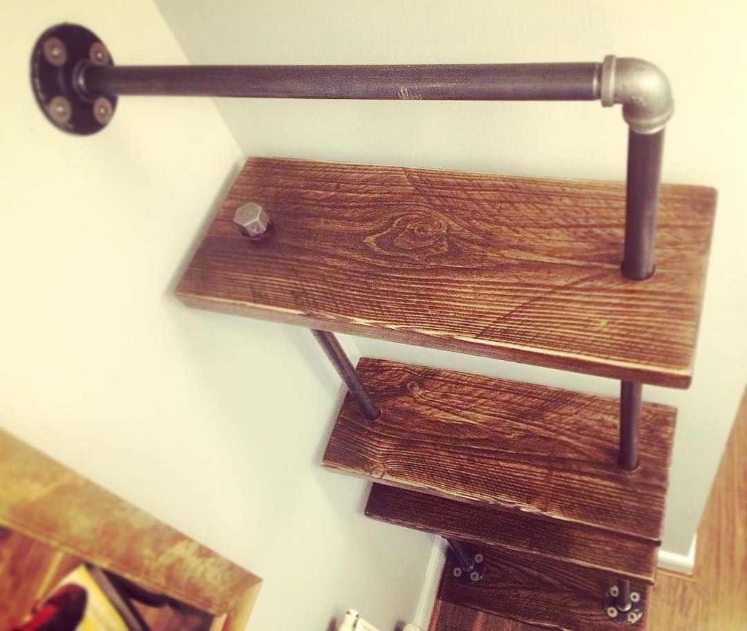 So installed this today for @paulturner1986 Industrial Shelves or #steampunk as Paul likes to call it  What do you think guys? #industrialfurniture #shelves #pipeshelves #pipeshelf #industrialshelving #pipes #steam #punk #diy #buildit #reclaimed #wood #furniture #dowoodworking by monkeyboysworkshop