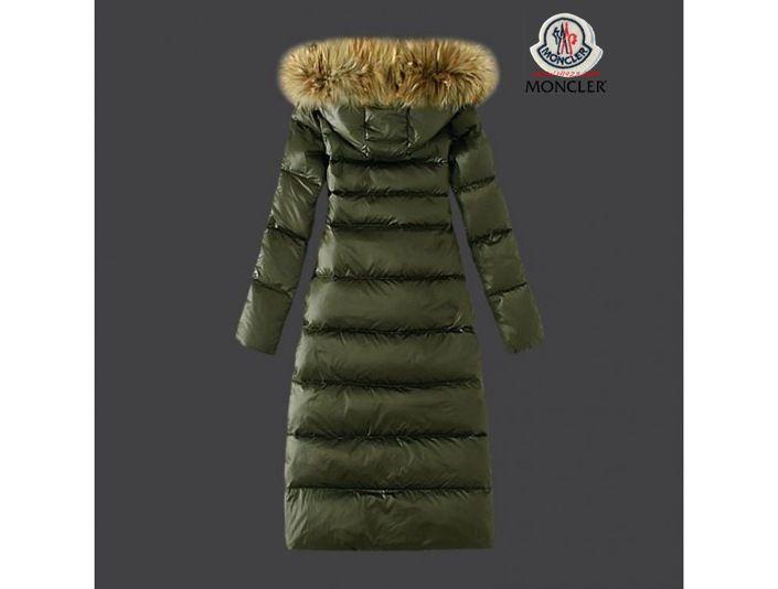 cheap for discount cb405 25697 sale Moncler Damen schicke grüne Lange Daunen mantel Pelz ...