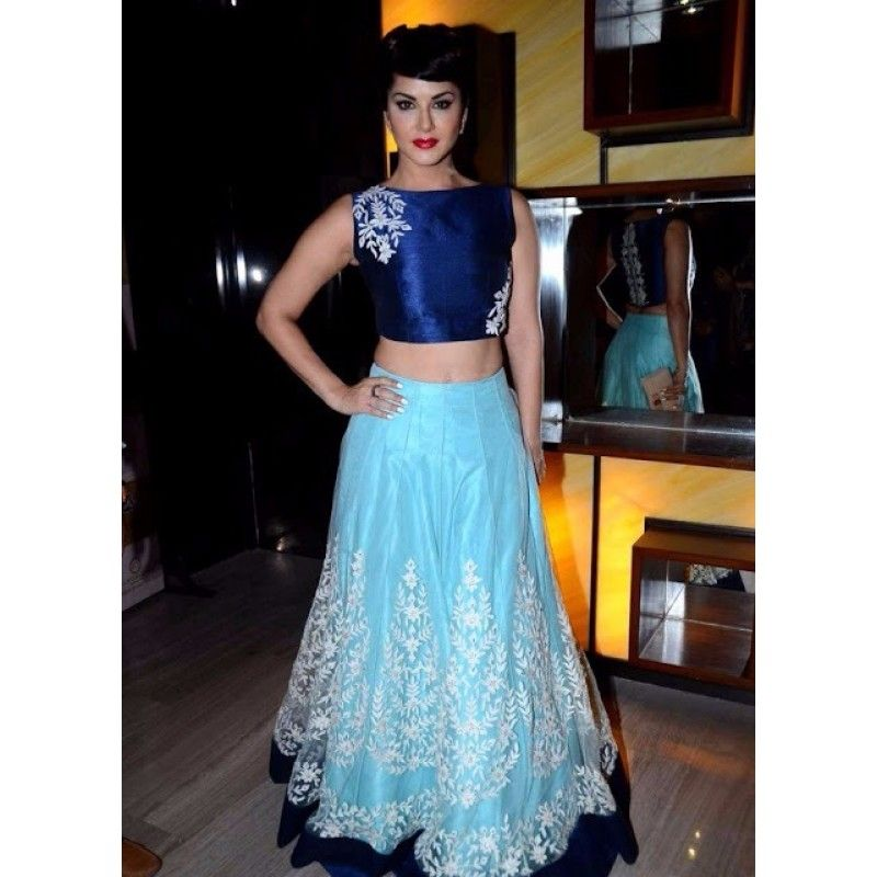Bollywood Replica   Designer Blue Net Party Wear Crop Top Lehenga   9064. Bollywood Replica   Sunny Leone Blue Net Party Wear Crop Top