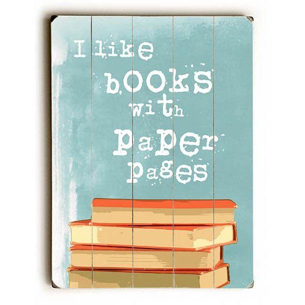 I Like Books by Artist Ginger Oliphant Wood Sign