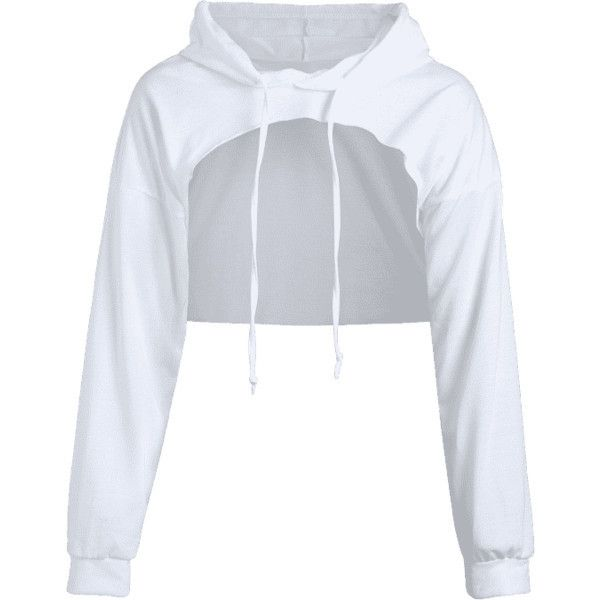 ed74e7fc911544 Cut Out Drawstring Crop Hoodie ❤ liked on Polyvore featuring tops ...