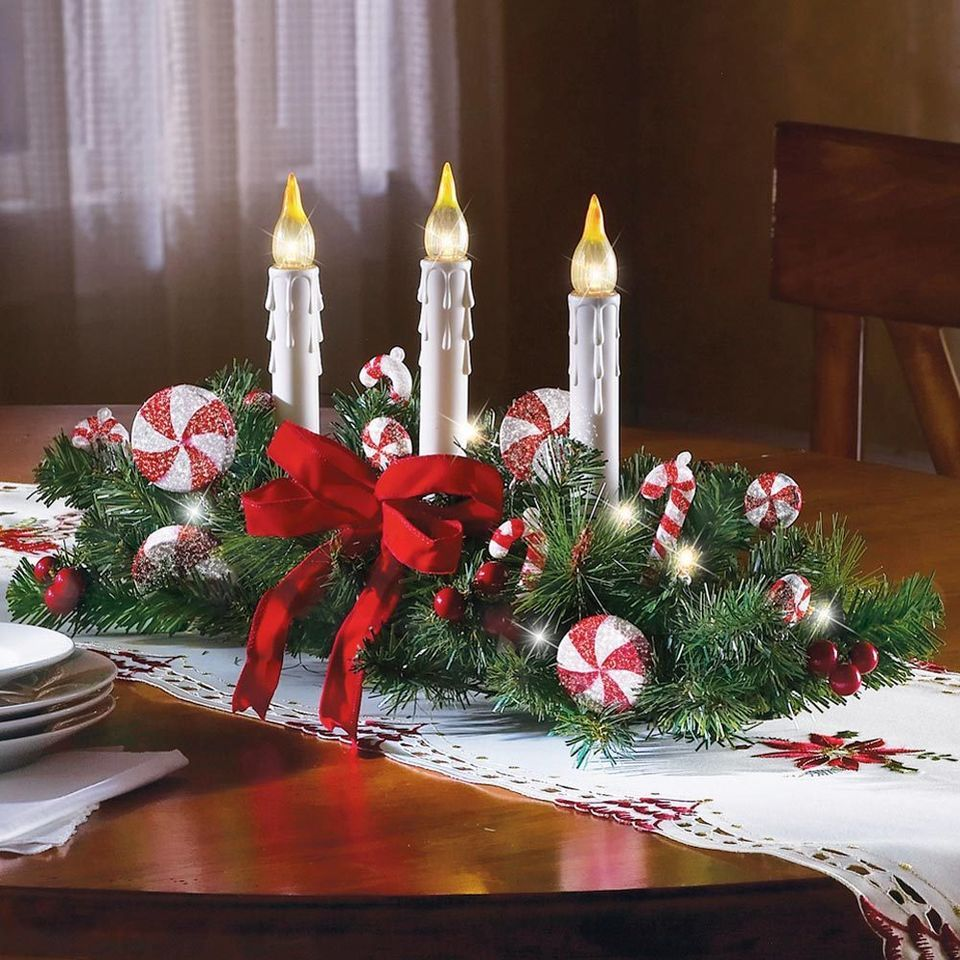Candy Cane Centerpiece W 3 Candles Christmas Holiday Festive Dinner Table Christmas Table Centerpieces Christmas Centerpieces Diy Christmas Centerpieces