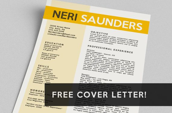 Resume \ FREE Cover Letter Word Template The Neri by taupeisdope - free cover letters for resume