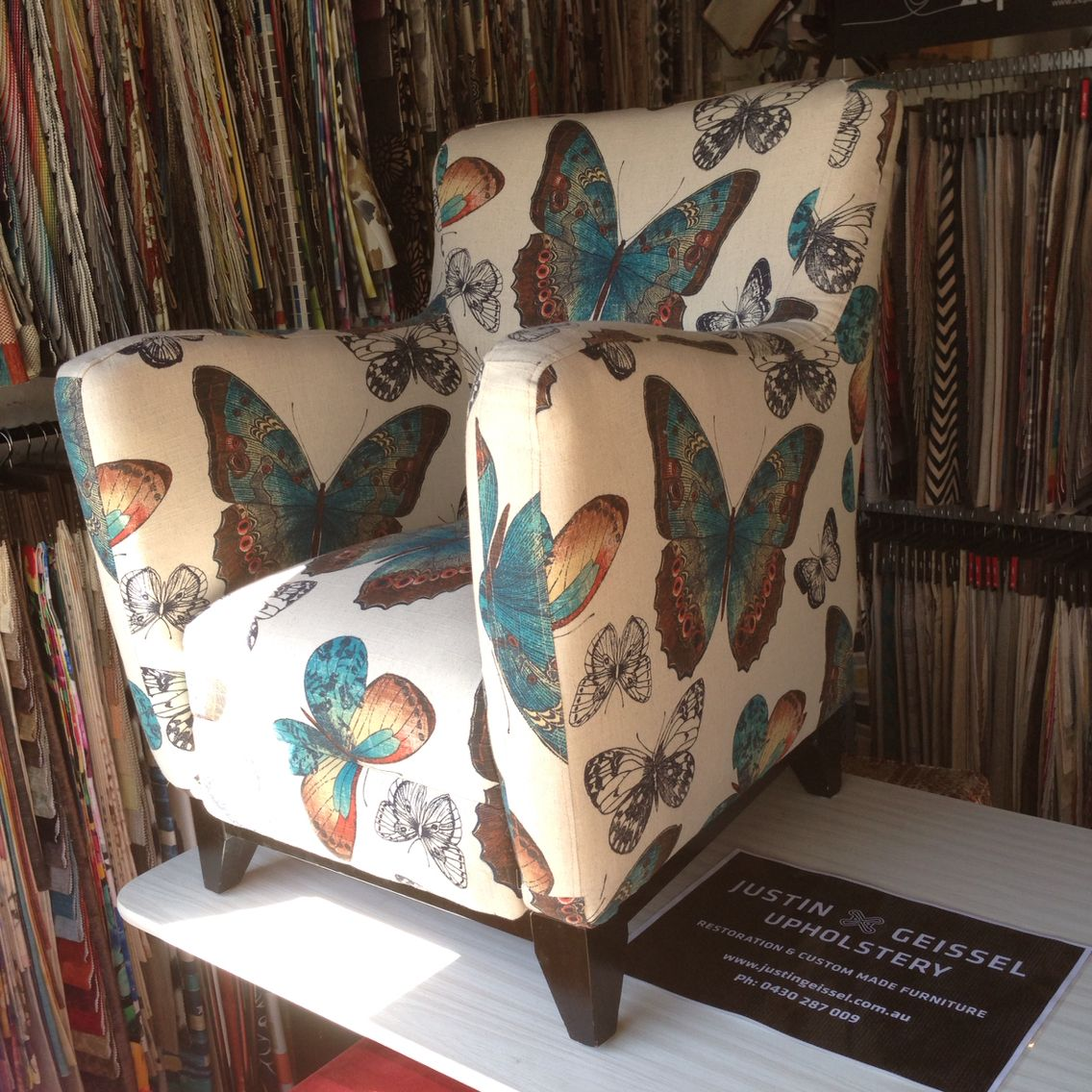 Delightful Custom Made Arm Chair Upholstered In Warwick Fabrics Madame Butterfly.