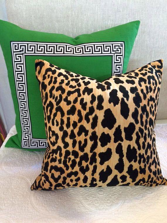 Green Greek Key Trim Pillow Robert Allen Malachite Linen Pillows