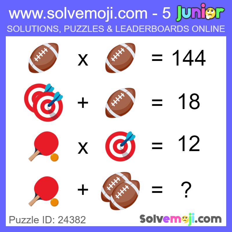 Emoji Math Puzzle ID 24382 Emoji math, Maths puzzles