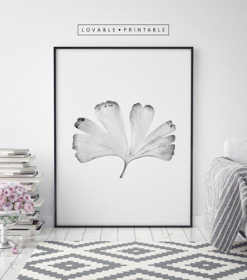 Ginkgo Leaf Photography Wall Art Ginkgo Leaf Printable Etsy In 2020 Photography Wall Art Black And White Wall Art Leaf Photography