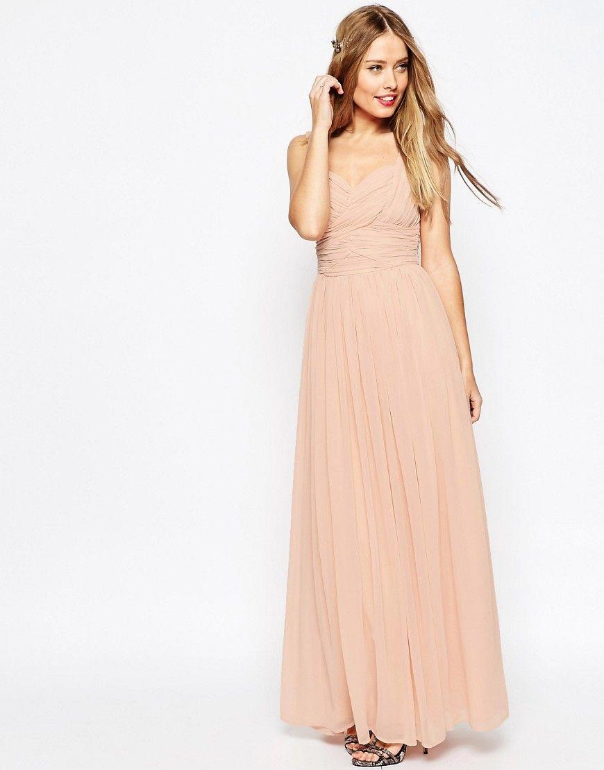 ASOS WEDDING Ruched Panel Maxi Dress - Pink  Vestidos maxi de